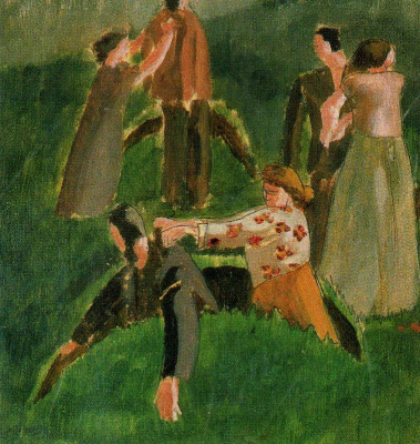 Stanley Spencer. People on the lawn