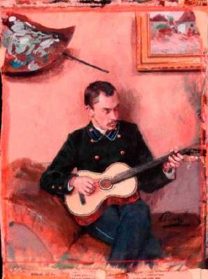 Arkady Alexandrovich Rylov. Portrait of the artist K. F. Bogayevsky with a guitar