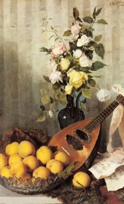 Анджело Мартинетти. Натюрморт с вазой роз