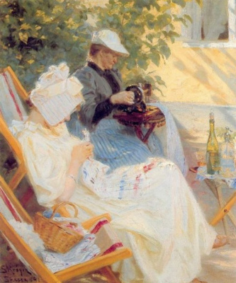 Peder Severin Kreyer. Marie and her mother in the garden