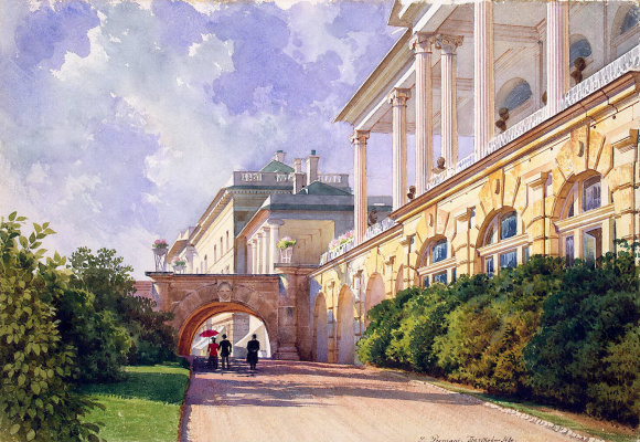 Luigi Premazzi. Landscape with the Cameron gallery and the Zubov housing
