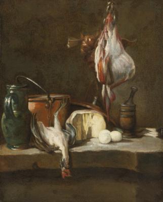 Жан Батист Симеон Шарден. Натюрморт с битой птицей, медной посудой, яйцами и кувшином