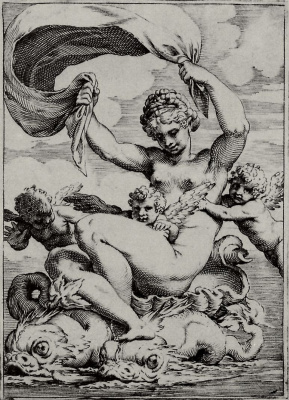 "Agostino Carracci. The series of ""Sensuality"", Venus or Galatea, floating dolphins"