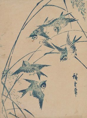 Utagawa Hiroshige. A flock of sparrows and stems of rice