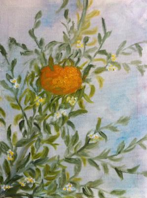 "Rita Arkadievna Beckman. Triptych ""The Last Mandarin"". Mandarin and mandarin flowers"