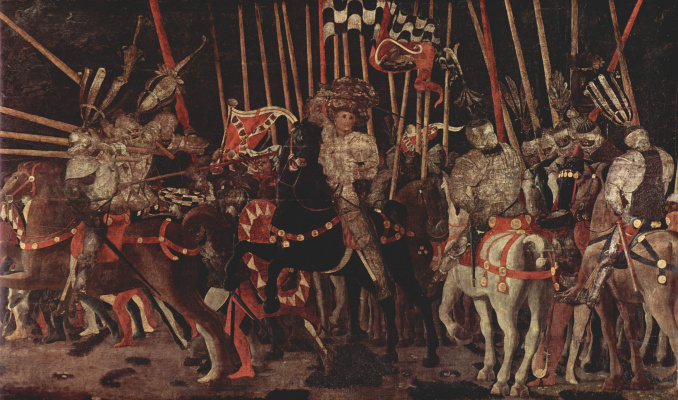 Paolo Uccello. Three paintings of the battle of Romano for the Medici Palace in Florence. Joining the fray Micheletto da Cotignola