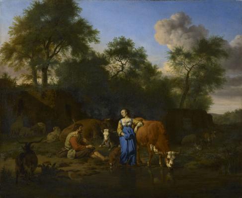 Adrian van de Velde. Shepherd and shepherdess at rest by the brook