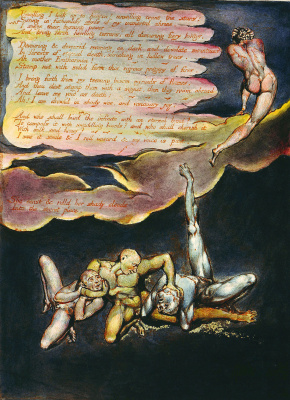 "William Blake. The fight in the clouds. Illustration for the poem ""Europe: a prophecy"""