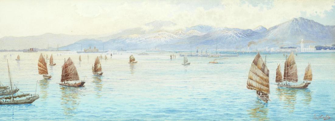 Эйзо Като. Вид через гавань Виктория на острове Гонконг