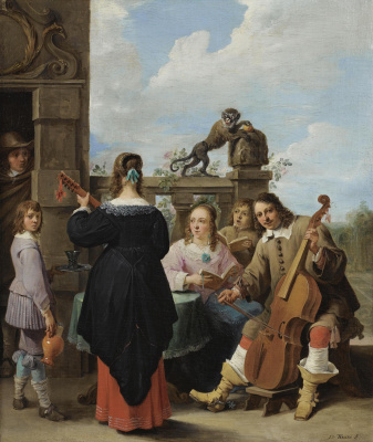 A FAMILY CONCERT ON THE TERRACE OF A COUNTRY HOUSE: A SELF PORTRAIT OF THE ARTIST WITH HIS FAMILY
