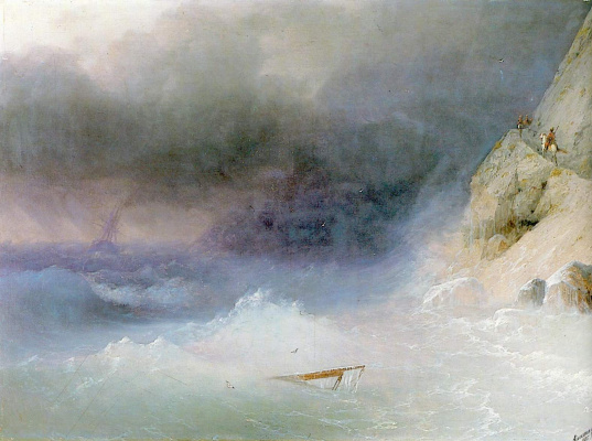 Ivan Aivazovsky. Storm along the rocky shores