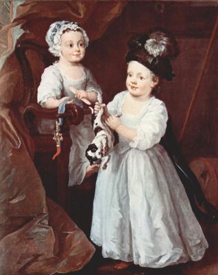 William Hogarth. Portrait of lady Mary grey and Lord George grey