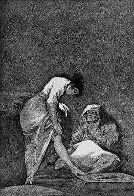 """Francisco Goya. """"He stretched"""" (Series """"Caprichos"""", page 17)"""