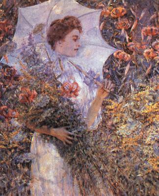 Роберт Рейд. Очаровательная девушка под зонтом в саду