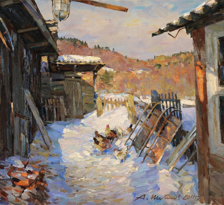 Alexander Victorovich Shevelyov. Patio. Oil on canvas 45.6 x 50 cm 2011