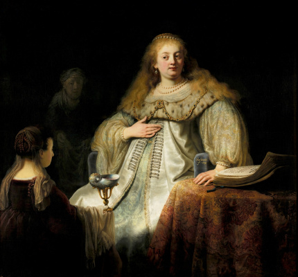"Rembrandt Harmenszoon van Rijn. Judith at the feast of Holofernes (formerly known as ""Artemisia"")"