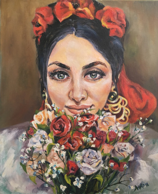 "Olga Tyumentseva. ""Girl with a bouquet"""