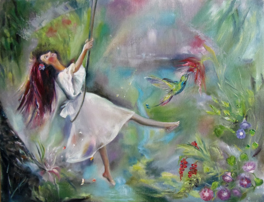 """Nata Charivna. Oil painting """"Swing to a rainbow hang among the spring clouds"""""""