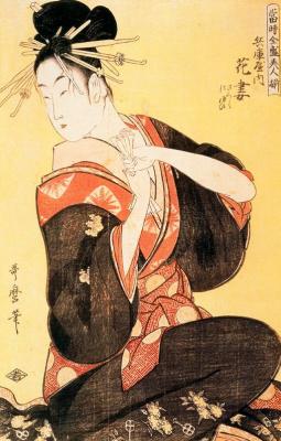 Kitagawa Utamaro. The scene on the bridge