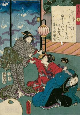 """Утагава Кунисада. Глава 31. Макибасира - кипарисовый столб. Иллюстрации к главам """"Повести о Гэндзи"""""""