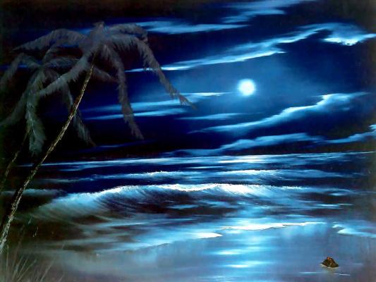 Bob Ross. Blue moon