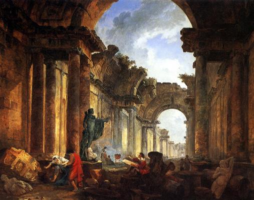 Юбер Робер. Воображаемый вид Большой галереи в руинах