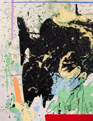 Паша Туремский. Без названия. Пространственная абстракция. ДВП, акрил, лаки. Смешанная техника. 70х90 см. 2013 г.