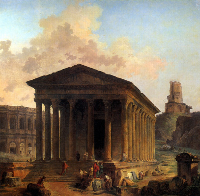 Hubert Robert. Maison Carre at Nimes with the amphitheater