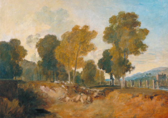 Joseph Mallord William Turner. Trees by the river and the bridge halfway