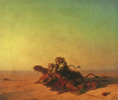 Ivan Aivazovsky. Lions in the desert