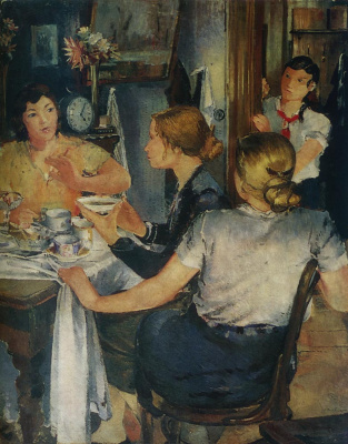 Yuri Ivanovich Pimenov. Workers of the Uralmash home for tea