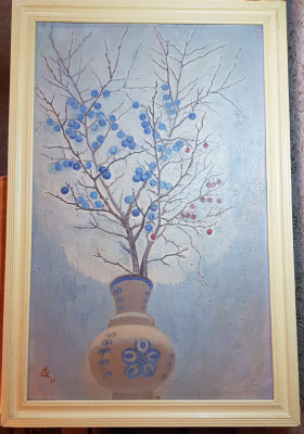 Yuri Semenovich Evseev. Twig of thorns in a blue vase