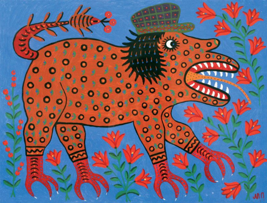 Maria Prymachenko. The beast opened his mouth and wants to eat the flower, but the language is fine