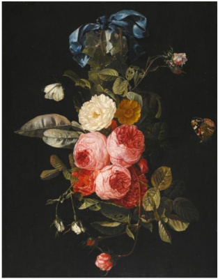 Still life of hanging pink, yellow and white roses with blue ribbon