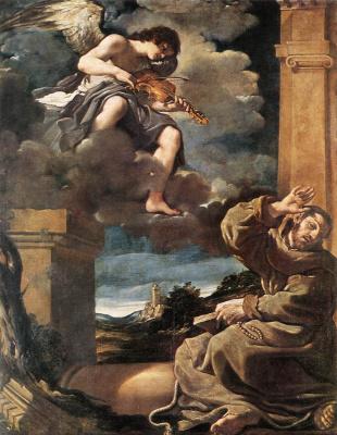 Джованни Франческо Гверчино. Святой Франциск с ангелом