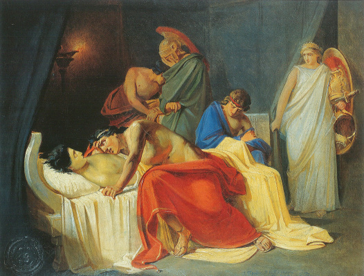 Nikolai Nikolaevich Ge. Achilles mourns Patroclus. Sketch of the same picture