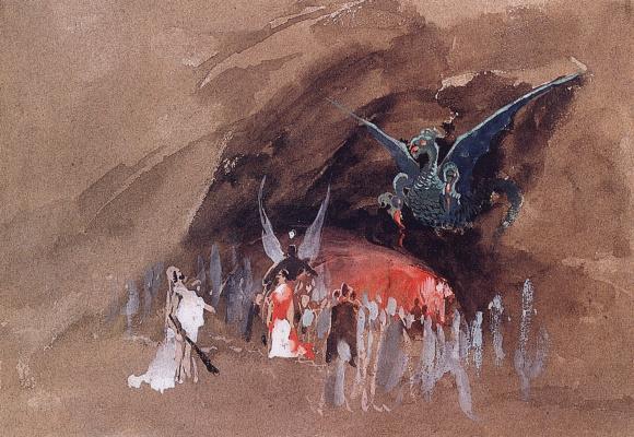 Andrei Petrovich Ryabushkin. At the dragon cave. 1880s Sketch