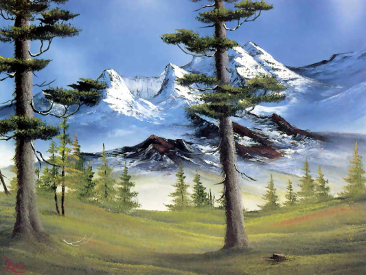 Bob Ross. Mountain glory