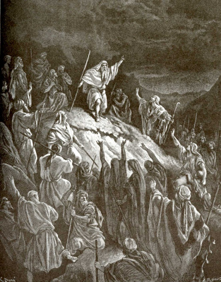 Paul Gustave Dore. Illustration to the Bible: Mattafia calls the Jews to arms
