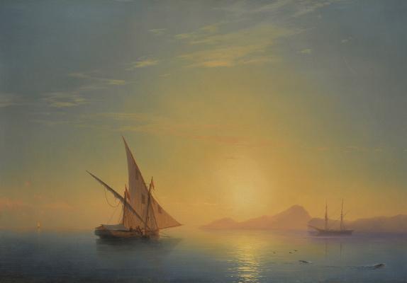 Ivan Aivazovsky. Sunset over the island of Ischia