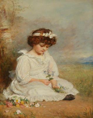 Джон Эверетт Милле. Маленькая девочка с голубыми цветами (Портрет Вероники с цветами)