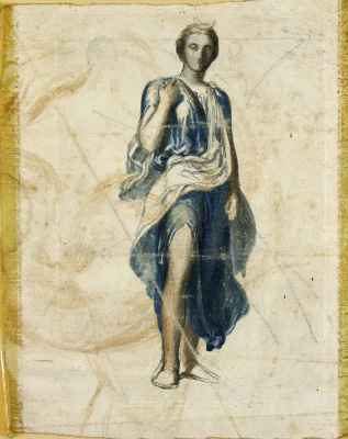 """George Frederick Watts. Sketch of the figure of Diana to the fresco """"Apollo and Diana"""""""