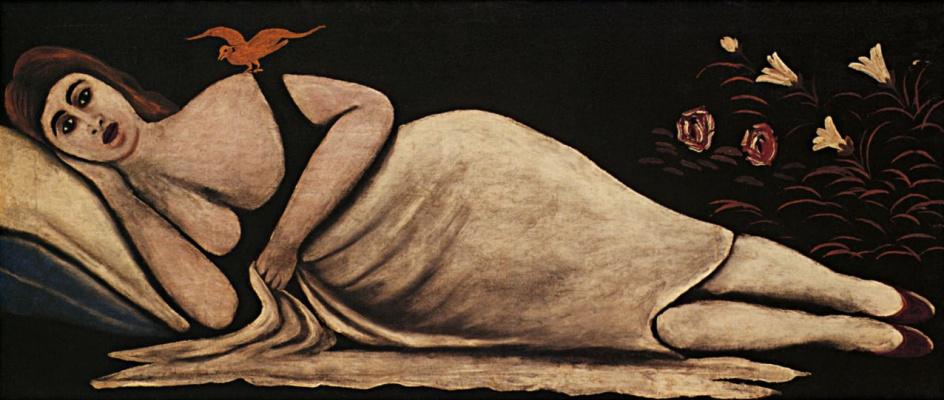 Нико Пиросмани (Пиросманашвили). Ортачальская красавица. Левая часть диптиха
