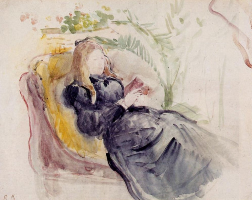 Berthe Morisot. Julie Manet reading in a chaise hall