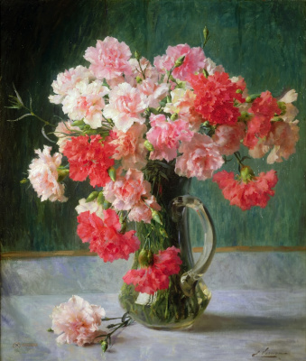 Emile Vernon. Still life with carnations.