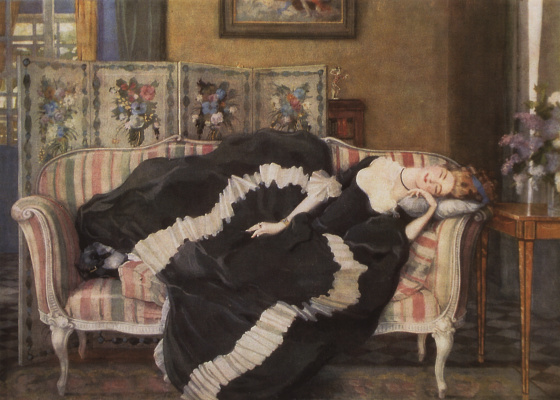 Constantin Somov. Sleeping young woman