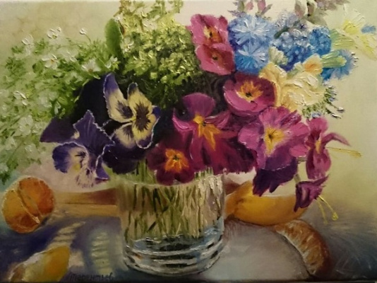 Evgeny Vladimirovich Terentyev. Violets in a glass