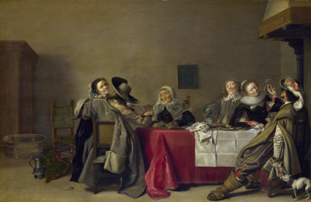 Hendrik Gerrits Pot. Merry company at table