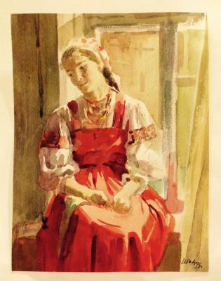 """Нина Ивановна Гаврилова. """"Девушка в русском костюме"""", 1958г.,бум./акварель, 22,5х17,2"""