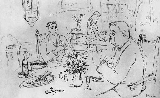 Mikhail Larionov. Sergey Dygilev and Leonid Myasin at the table